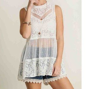 Umgee Sleeveless Lace Top Off White Tiered Tunic